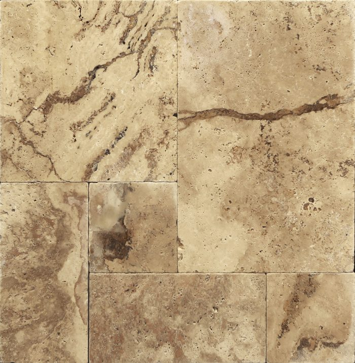 Colorado French Pattern Tumbled Travertine Paver